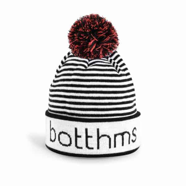 botthms white/black and red beanie 1