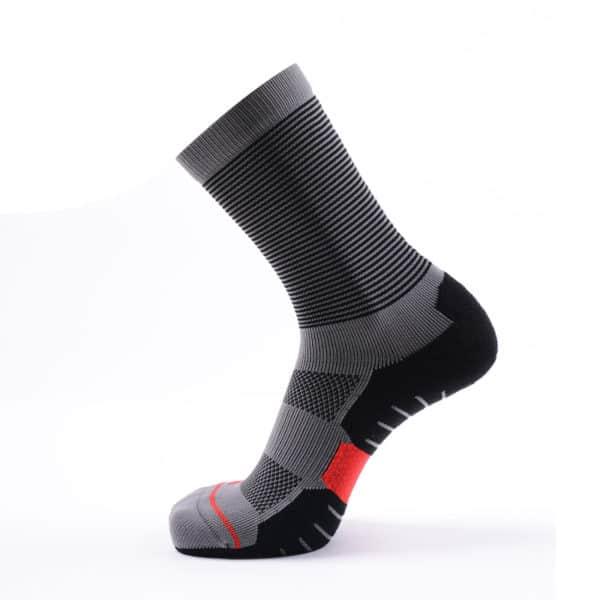 Grey Coolmax Quarter Running Socks