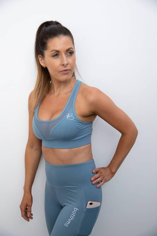 botthms athlete wearing blue yoga set
