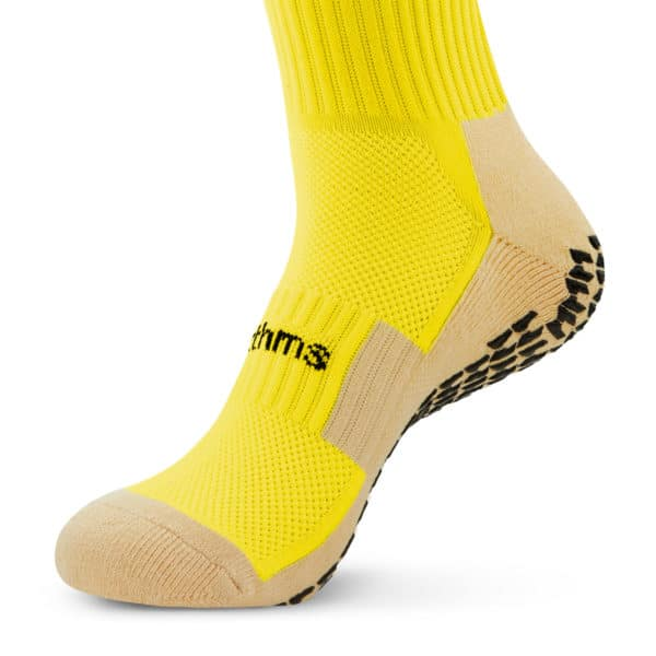 Yellow Grip Socks front foot view